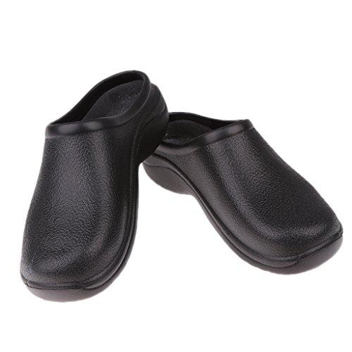SM SunniMix Negro Chef Cook Nurse Shoes Zuecos Ortopédicos Sin Tirantes para Hombres Mujeres - 40