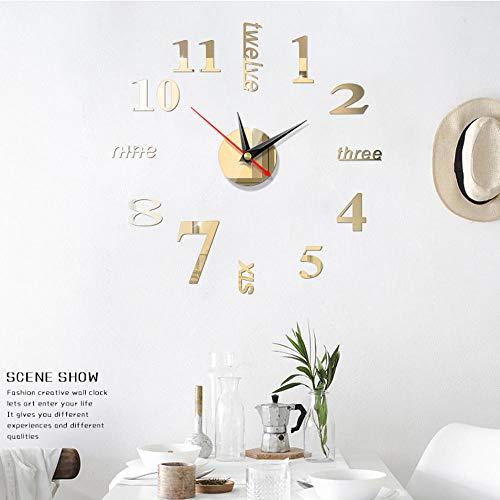 NxSP wandklok, groot, om zelf vorm te geven, modern, 3D, Romeinse cijfers, Engelse cijfers, mix en match, acrylspiegel, muursticker, decoratie voor thuis, kunst design