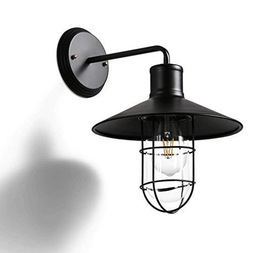 Rétro en fer forgé lampe de mur verre abat-jour lampe de chevet chambre industrielle Bar café salon noir LED Source de lumière 4W