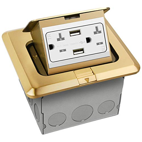 """ENERLITES Pop-Up Square Floor Box Kit, 5.0"""" x 5.5"""", 2.1A USB Charging, 20A Tamper-Resistant Receptacle, Watertight Gasket and Corrosive Resistant Hardware, 961243-C-USB, Brass Cover"""