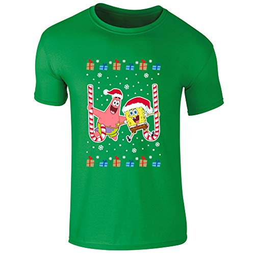 Nickelodeon T-Shirt Spongebob Schwammkopf und Patrick Star Zuckerstange Weihnachten Kinder Weihnachten T-Shirt für Kinder Gr. 5-6 Jahre, grün