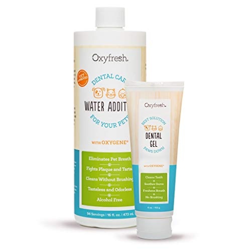 Oxyfresh Pet Fresh Breath Kit for Dogs & Cats: Clean Teeth, Remove Plaque & Control Tarter – Easy Safe & Effective Solution. Pet Water Additive 16oz, Unflavored Pet Dental Gel Toothpaste 4oz.