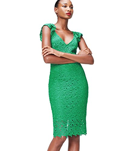 Marchio Amazon - find.  Tubino Midi in Pizzo Donna, Verde (Green), 40, Label: XS