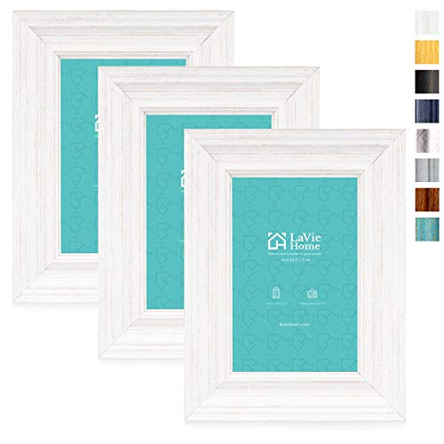 LaVie Home 4x6 Picture Frames (3 Pack, Distressed White Wood Grain) Rustic Photo Frame Set with High Definition Glass for Wall Mount & Table Top Display