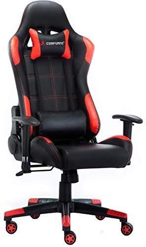JL Comfurni ゲーミングチェア オフィスチェア ゲーム用チェア デスクチェア 無段階170°リクライニング 多機能 パソコンチェアー PUレザー ヘッドレスト ランバーサポート 2Dひじ掛付き ハイバック 腰に優しい gaming chair 座り心地良い 通気性抜群 130KG耐荷重 18ヶ月無償保証期間 レーシングチェア S01 (ブラック 赤黒)