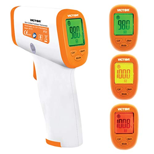 Victor T9000 Non-Contact Digital Infrared Forehead and Wrist Thermometer, for Adults and Kids, White/Orange