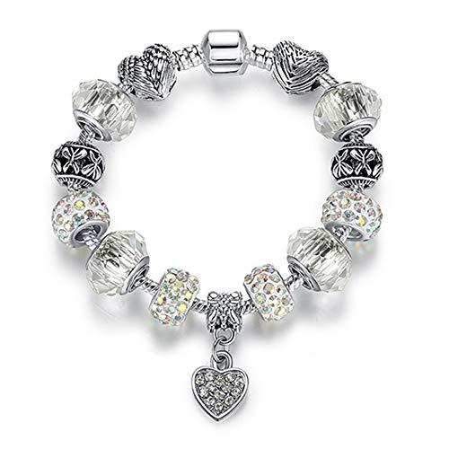 LBZDR Armband Frauen Armband 925 Einzigartige Silber Kristall Charme Armband für Frauen DIY Perlen Armbänder & Armreifen Schmuck Geschenk, FArmkette