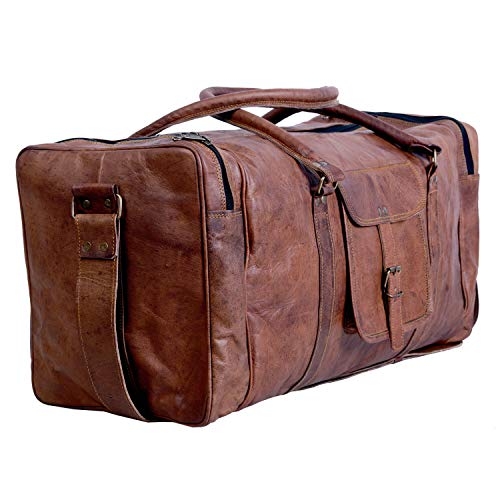 Komal's Passion Leather Leather Duffel Bag Large 24 Inch Square Duffel Travel Gym Sports Overnight...