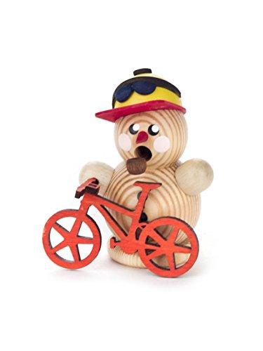 DREGENO Miniatur-Räuchermann Schneemann als Mountainbiker, rot von DREGENO SEIFFEN 7 cm – Original erzgebirgische Handarbeit, stimmungsvolle Weihnachts-Dekoration