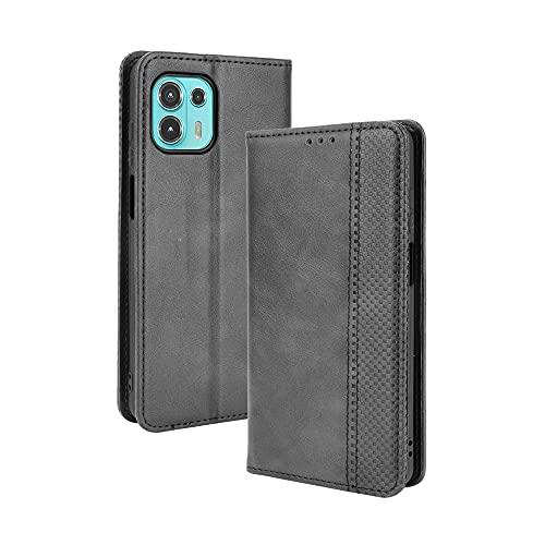 WEIOU Hülle für Motorola Moto Edge 20 Lite, Premium TPU/PU Leder Klappbar Schutzhülle Tasche Handyhülle mit Standfunktion und Kartensteckplätzen, Schwarz