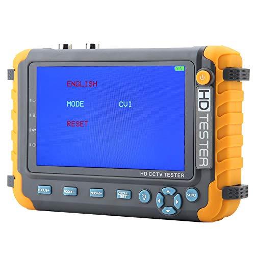 Probador de CCTV 4 en 1, CA 220V Alta resolución 5MP 5 Pulgadas TVI/AHD/CVI/CVBS CCTV Seguridad Analizador Cámara Analógica Lámpara LED Monitor de Video Coaxial HD con Entrada VGA/HDMI/Controlador PTZ