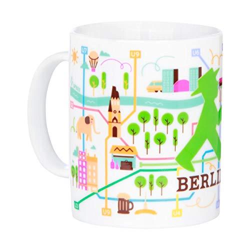 AMPELMANN Frühaufsteher - Tasse - aus Keramik mit Berlins Netzplan 30cl, spülmaschinenfest