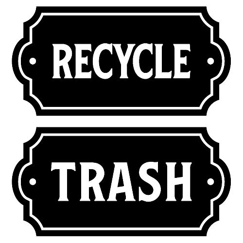 Recycle and Trash Elegant Decal to Organize Trash cans or Garbage containers and Walls - Premium Cut Vinyl (Small, Black Glossy)