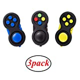glacely 3pack Fidget Pad - 9 Fidget Features Perfect for Skin Picking, ADD, ADHD, Anxiety and Stress Relief Prime Ready and Shipped by Amazon(Colorful、Yellow、Blue
