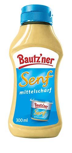 BAUTZ'NER Senf mittelscharf – 300 ml Squeezeflasche Mittelscharfer Senf – Original Bautz'ner Rezeptur seit 1955 – Ohne Zusatz von Konservierungsstoffen und Geschmacksverstärkern – Senf