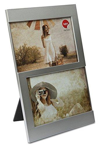 balvi Fotorahmen Dijon Silber Fassungsvermögen: 2 Fotos mit den Abmessungen 10 x 15 cm Fotorahmen Tischmodell Kunststoff 25 x 16 cm