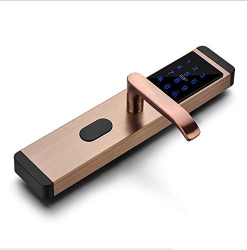 Smart Lock, elektronisches schlüsselloses Türschloss Digitale Sicherheit Smart Lever Türschlösser für Schlafzimmer Apartment Office,1Brass