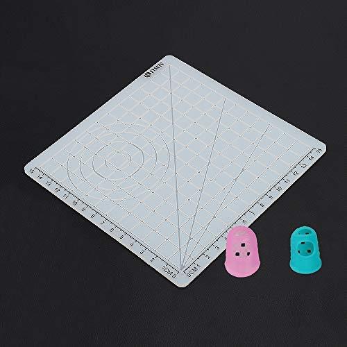 FYSETC Alfombrilla de silicona para de impresión 3D, con plantilla geométrica básica, diseño multiusos con tapas de dedos para plantillas de dibujo 3D, para niños y adultos, transparente tipo A