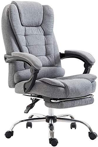TGFVGHB Silla de oficina, silla de escritorio, para el hogar, oficina, silla reclinable de tela, silla de juego, suave y cómoda (color: gris)