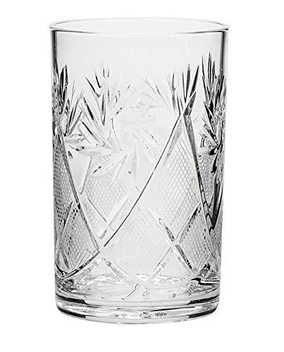 World Gifts Kristall-Trinkglas für heiße und kalte Getränke, passend für russische Metall-Glashalter Podstannik – UdSSR Sowjetglas – 227 ml