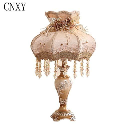Bombilla lámpara de mesa de noche de 12 pulgadas LED del accesorio ligero moderno dormitorio Atenuación lámpara de cabecera Europea lujo sencillo flores de tela Vector de la lámpara cristalina de la m