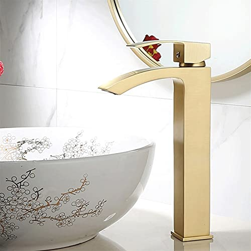 AXWT Golden Basin Tap Bathroom Frift Mezclador Monobloc Cascada Chrome One Single Palanca (tamaño : 305mm)
