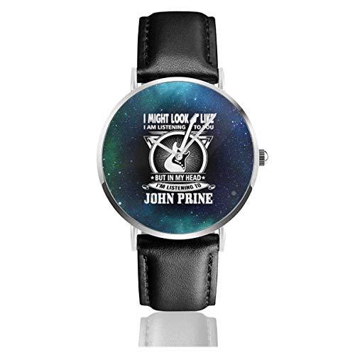 John Prine Reloj de Cuarzo Informal de Acero Inoxidable y Cuero para Adolescentes, niños y Estudiantes, Regalo