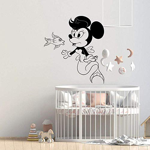 XKIOA Wall Sticker Cute Wall Decals Minnie Mouse Art Wall Stickers for Kids Room Home Decors Girl Nursery Cartoon Pattern Removable 42x47cm