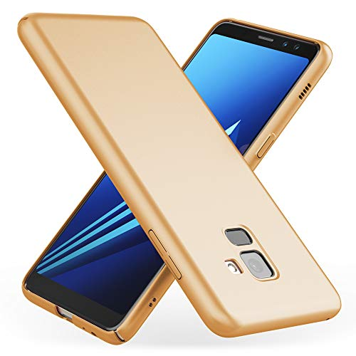 NALIA Hülle kompatibel mit Samsung Galaxy A8 2018, Dünnes Phone Hülle Schutzhülle Hardcase Matt Handyhülle Ultra-Slim Cover Etui leicht Handy-Tasche Smartphone Backcover Skin Bumper, Farbe:Gold