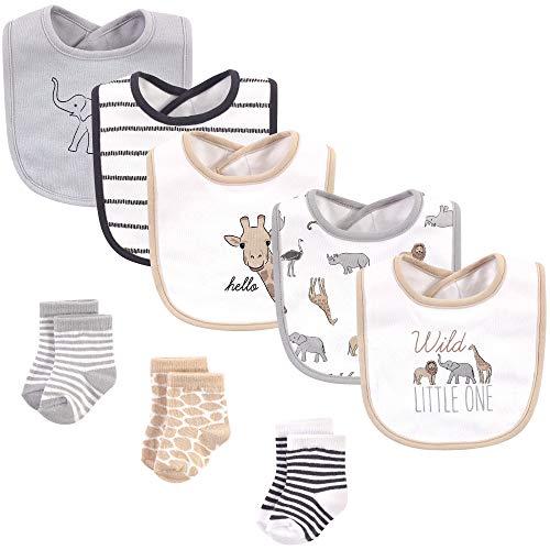 Hudson Baby Unisex Baby Cotton Bib and Sock Set, Modern Safari Animals, One Size