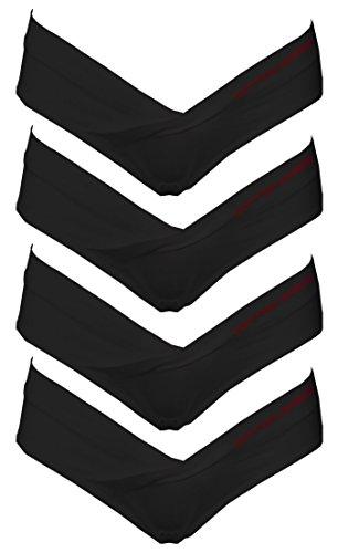 Coton Whisper Lot de 4 pour femme sous le Bump Maternité Bikini - Noir -