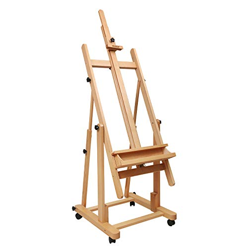 MEEDEN Heavy Duty Extra Large H-Frame Studio Easel - Versatile Solid Beech Wood Artist Floor Easel Adjustable Painting Easel Stand, Movable and Tilting Flat Available