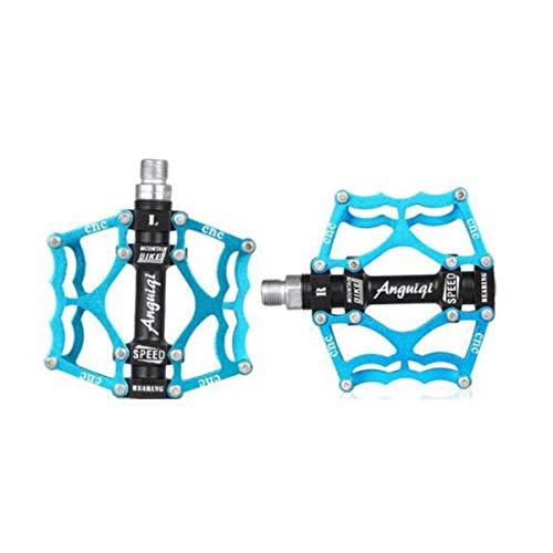 KEHUITONG Fahrradpedale - Aluminium CNC-gelagerte Mountainbike-Pedale - Rennradpedale mit 24 Anti-Rutsch-Stiften - Leichte Fahrrad-Plattformpedale - Universelle 9/16