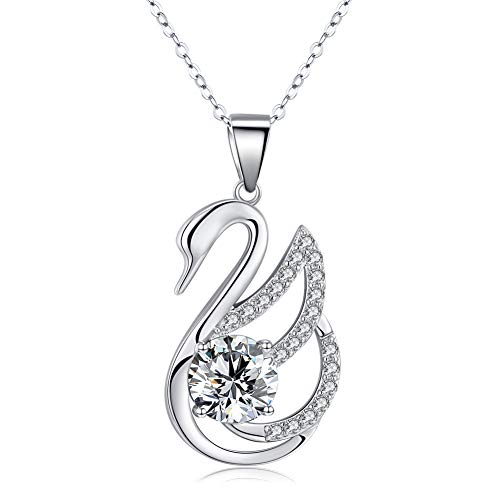Swan Necklace for Women 925 Sterling Silver Cubic Zirconia Swan Lake Pendant Necklace Fashion Jewelry (A-swan)