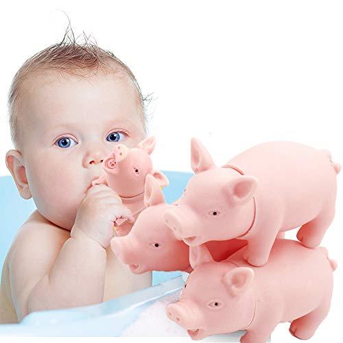 Springisso 2 Piezas De Cerdo De Látex con Sonido Gruñido, Juguete De Ducha para Bañera Juguete De Bañera Flotante para Bebé Juguete Educativo Rosa (3,5 '' / 9 Cm)