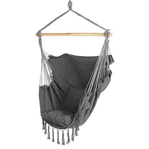 Aiglen Muebles de Exterior Hamaca Silla de Cuerda Colgante Columpio de jardín Silla Relajante Cama con Bolsillo 2 Cojines para Interior y Exterior (Color : A)