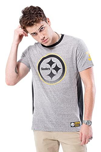 Ultra Game NFL Pittsburgh Steelers Mens Vintage Ringer Short Sleeve Tee Shirt, Gray, X-Large