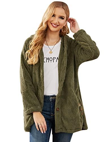 VONDA Damski płaszcz polarowy koc sweter bluza z kapturem wygodna długa kurtka miś odzież wierzchnia, A-wojskowa zieleń, L