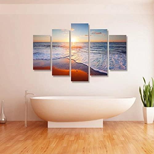 Arte sobre lienzoPaisaje marino al atardecer Cuadro en Lienzo Impresión de 5 Piezas Material Tejido no Tejido Impresión Artística Imagen Gráfica Decoracion de Pared Con marco ZTXZ 100x55cm