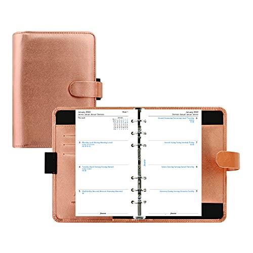 Filofax Saffiano Metallic Organizer, Personal Size, Rose Gold – Cross-Grain, Leather-Look, Bright Metallic Finish Cover, Six Rings, Week-to-View Calendar Diary, Multilingual, 2022 (C022573-22)