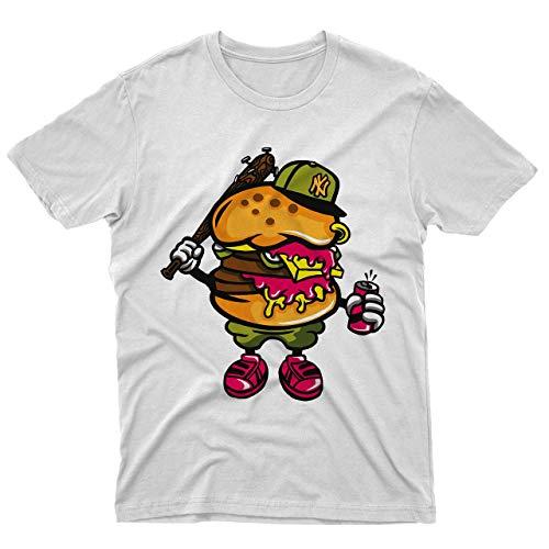 fm10 T-Shirt Burger Bastard Sandwich Bastardo Humor Lustig Cartoon - Weiß, XXL