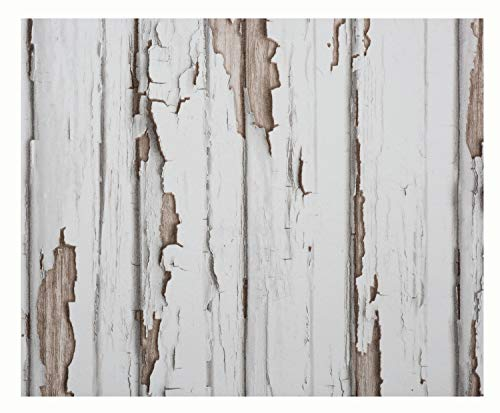 Glorex 6 1330 006 Design behang, houten planken shabby wit/bruin, ideaal voor knutselen en decoreren, ca. 120 x 53 cm.