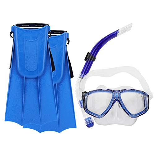 SALUTUYA Gafas de Buceo Safe Wide Diving Flipper, para Principiantes(Blue, 5 to 15 Years Old)