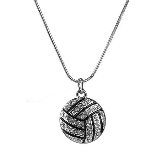 Rrunzfon Exquisite Volleyball Anhänger Halskette Rhinestone Kristall Sport Schmuck Chic Schlange Ketten Halskette für Frau Mädchen (Black (Silber))