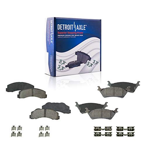 Detroit Axle - Front and Rear Ceramic Brake Pads for 2012-2017 Ford F-150 [with Manual Parking Brake], with Hardware - 4pc Set