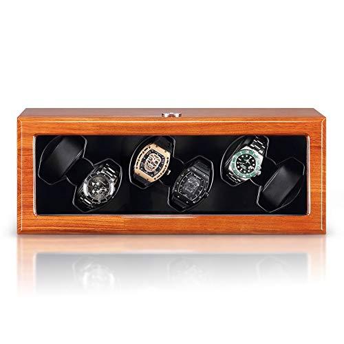 Wihy Tisch Shaker aus Holz Uhr Winding Box brasilianisches Rosenholz Massivholz-Winder Unterstützung automatischer mechanische Anzeige Brown Winding Schmuck Accessoires automatische Uhr Boxs