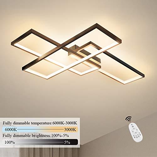 GBLY LED Deckenleuchte Dimmbar Modern Deckenlampe Schwarz Wohnzimmerlampe 65W Geometrisch Wandlampe Multifunktional Deckenbeleuchtung für Wohnzimmer, Schlafzimmer, Büro, Flur und Balkon, 65x47x7.5CM