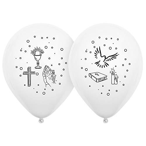 50x Kommunion Ballons, Luftballons Kommunion Taube Kerze Kreuz, Deko Kommunion mädchen, Luftballons für bei christliche Feste wie Kommunion, Firmung, Hochzeit, Konfirmation, Taufe