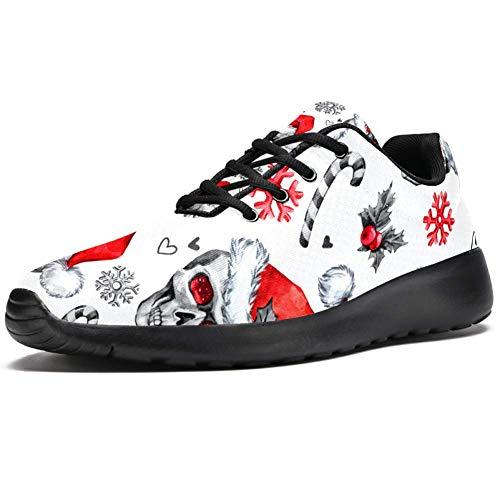 TIZORAX Zapatillas deportivas para correr para hombre, gorro de Navidad, calaveras, zapatillas...