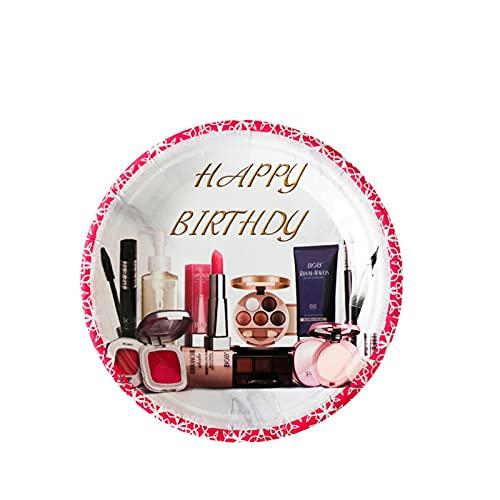 Jjwlkeji Vajilla De Fiesta Maquillaje niñas Decoración de cumpleaños Suministros de Fiesta Maquillaje Placas Placas Taza Nat Napkin Balloons Set Vajilla (Color : 10Pcs 7inch Plate)